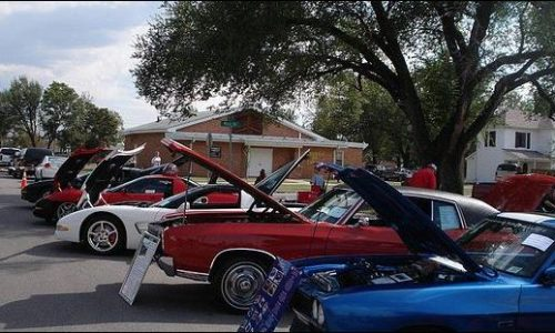 Cars on display at the annual Rose Hill Fall Festival